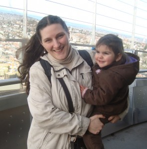Brooke and her daughter, Celina, at the Space Needle in Seattle, WA